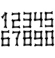 graphic black silhouette bone numbers set vector image vector image