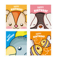 happy birthday to you cards animal cartoon vector image vector image
