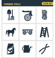 Icons set premium quality of farming tools vector image vector image