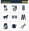 Icons set premium quality of farming tools vector image