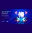 isometric cryptocurrency banner vector image vector image