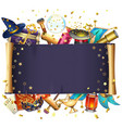 magic scroll with stars vector image vector image