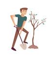 man planting tree cartoon vector image