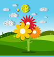 meadow with colorful flowers of summer field vector image