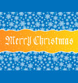 merry christmas lettering over blue vector image vector image