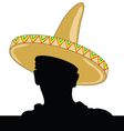 mexican man silhouette with sombrero vector image