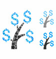 money tree mosaic icon ragged pieces vector image vector image