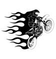 motorbike cross stunt flaming vector image