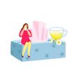 natural sedative chamomile tea flat crying woman vector image