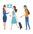 passengers waiting check at airport stewardess vector image vector image