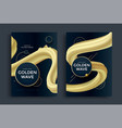 poster template with golden gradients fluid shapes vector image