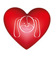 red heart shape with picture face cute dog animal vector image