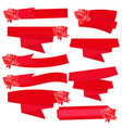 red roses with banner ribbon vector image vector image