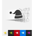 santa hat paper sticker with hand drawn elements vector image vector image