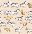 seamless pattern cute zebra tiger and lion cartoon vector image vector image