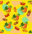 seamless pattern witn pumpkin on the yellow vector image