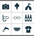season icons set with tent t-shirt ice cream and vector image vector image