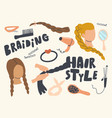 set icons braiding hair style theme curly iron vector image