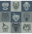 set nine images with painted fantastic scary vector image