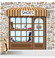 shoes shop building facade of stone vector image vector image