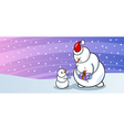 Snowman Santa with gift greeting card vector image vector image