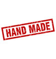 square grunge red hand made stamp vector image vector image