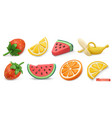 summer fruits icon set with shadows strawberries vector image vector image