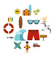 surfing icons set flat style vector image vector image