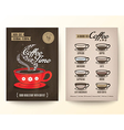 type coffee drinks flyer poster design layout vector image