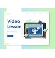 video lesson website landing page design vector image