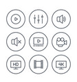 video player line icons on white vector image vector image