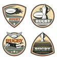 vintage colored rugby emblems set vector image vector image