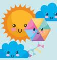 weather kawaii sun clouds and kite cartoon vector image vector image