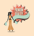 woman shopping retro vector image vector image