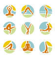 yoga icons on round colorful background vector image vector image