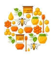 Background design with honey and bee objects vector image