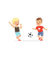 flat of two little boys playing football vector image