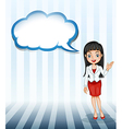 A girl talking with an empty cloud template vector image