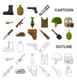 army and armament cartoon icons in set collection vector image vector image