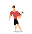 athlete strong man character holding dumbbell vector image vector image