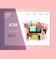 atm website landing page design template vector image vector image