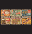 beer and snacks rusty metal plates rust signs set vector image