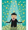 businessman raising from huge money bills pile vector image