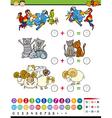 cartoon education math game vector image