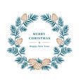 christmas card winter wreath spruce branch vector image