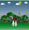 concept of couple in the city park with town vector image vector image
