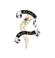 cool retro style emblem tattoo studio sign vector image vector image