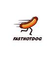 fast hotdog running hotdog mascot logo vector image vector image