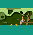 father and son fishing happy father s day card vector image