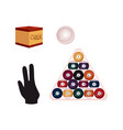 flat billiard objects - balls chalk and glove vector image